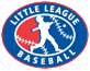 WB Little League logo - oval aroundsilhouette of baseball player swinging at ball